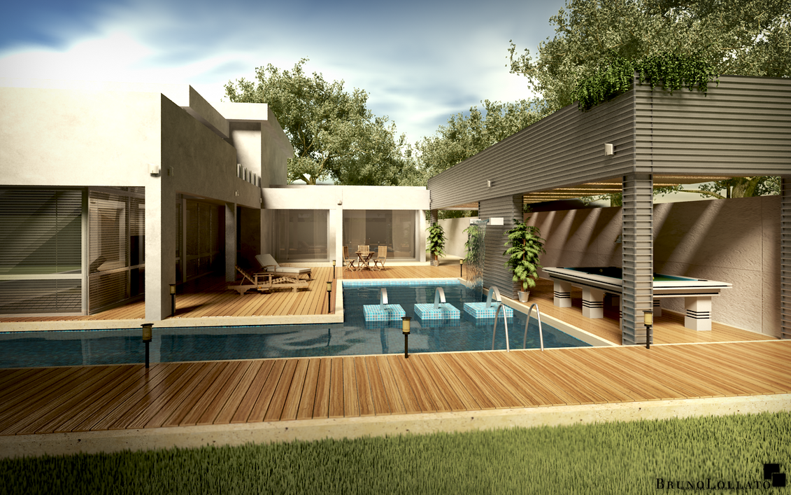 modern house at day by brunolollato on deviantart