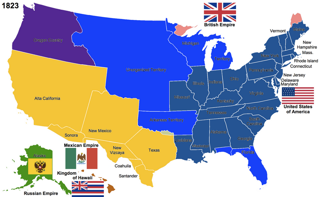 The United States By Hillfighter On DeviantArt - Map of us in 1823