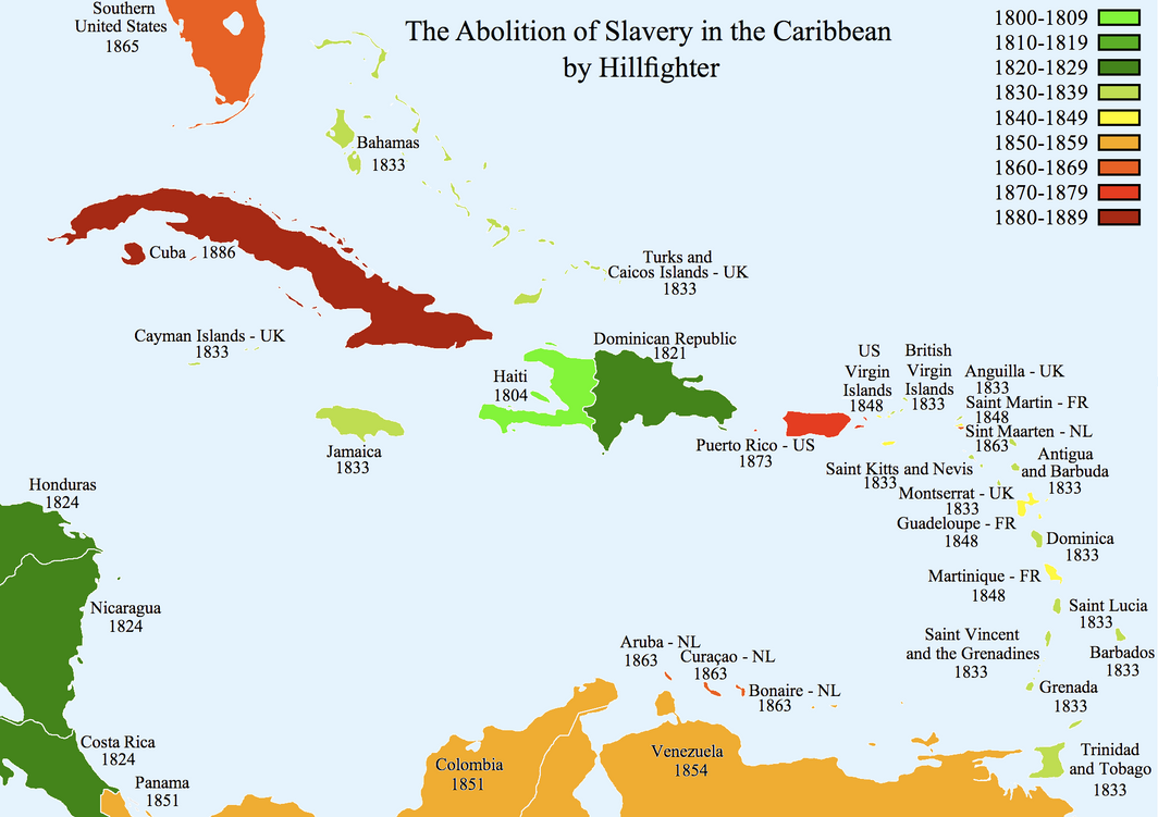 Abolition Of Slavery Caribbean By Hillfighter On Deviantart Map Of Slavery In The Us