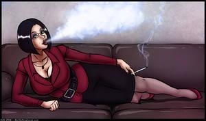 A Sexy Smoker on a Sofa by Amphurious