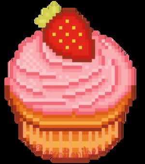 pixel art: strawberry cupcake