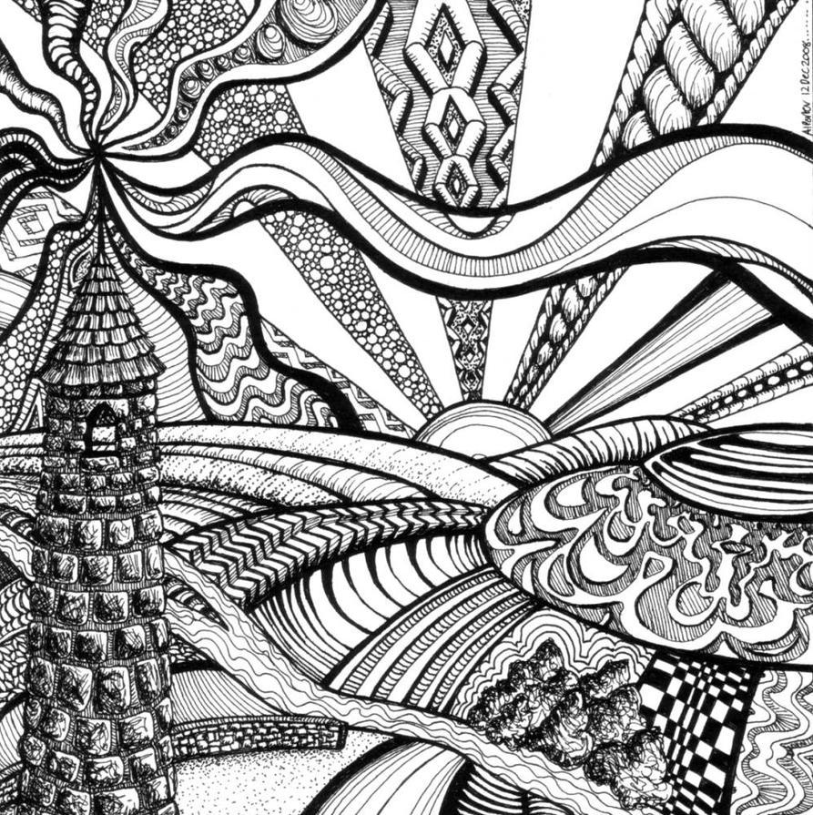 Line Art Zendoodle : Cashel s tower of art by artwyrd on deviantart
