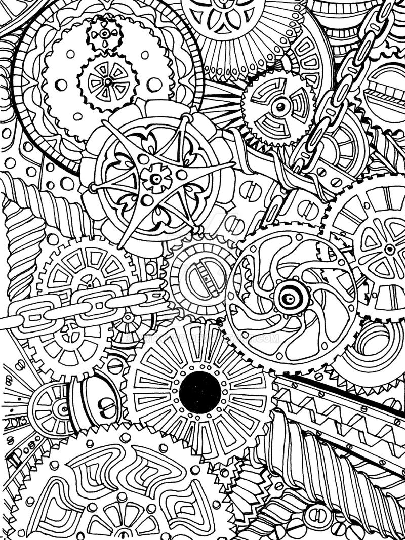 Cogs by artwyrd on deviantart for Garden 50 designs to help you de stress colouring for mindfulness