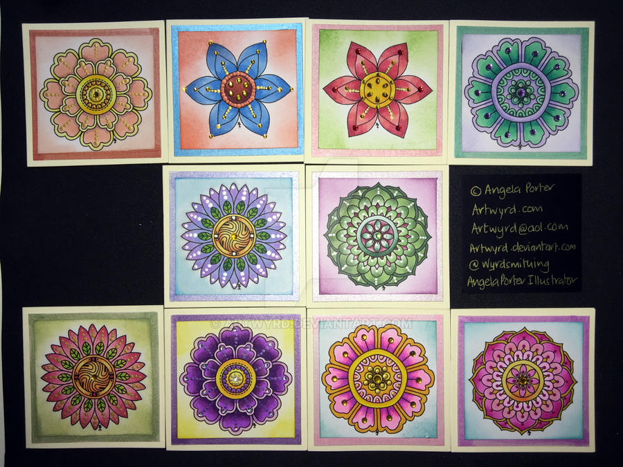 Set of ten blank flower or mandala cards by Artwyrd