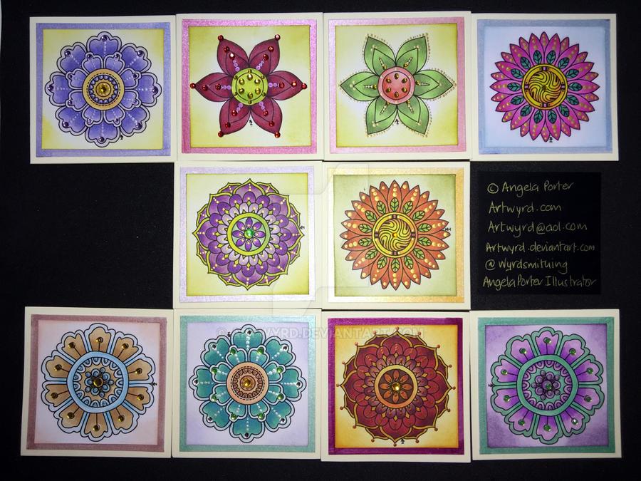 A second set of ten flower or mandala cards by Artwyrd