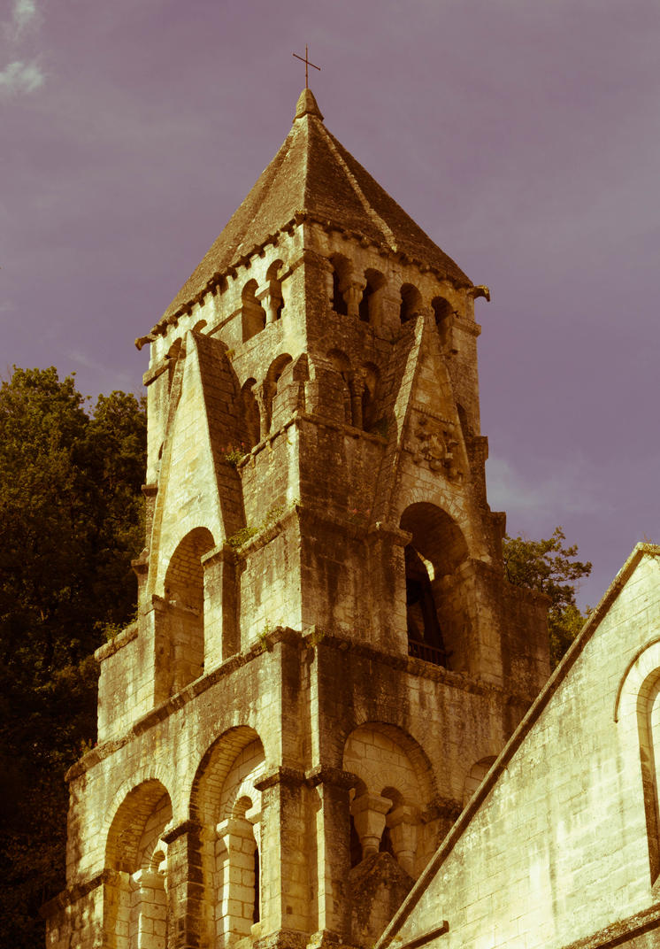 Abbey of Brantome bell-tower 1 by FubukiNoKo