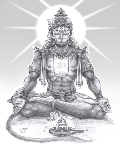 meditating hanuman by thandav on deviantart. Black Bedroom Furniture Sets. Home Design Ideas