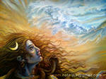 Shiva's face in oil