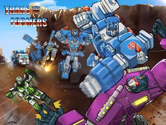 Ultramagnus vs sg Optimus and rescue minimus ambus