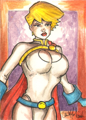 Powergirl Sketch Card 040510 by ChrisMcJunkin