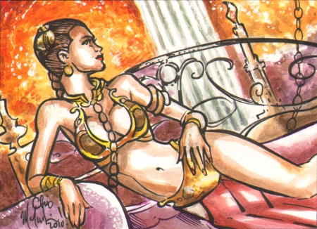 Slave Leia Sketch Card Commish by ChrisMcJunkin