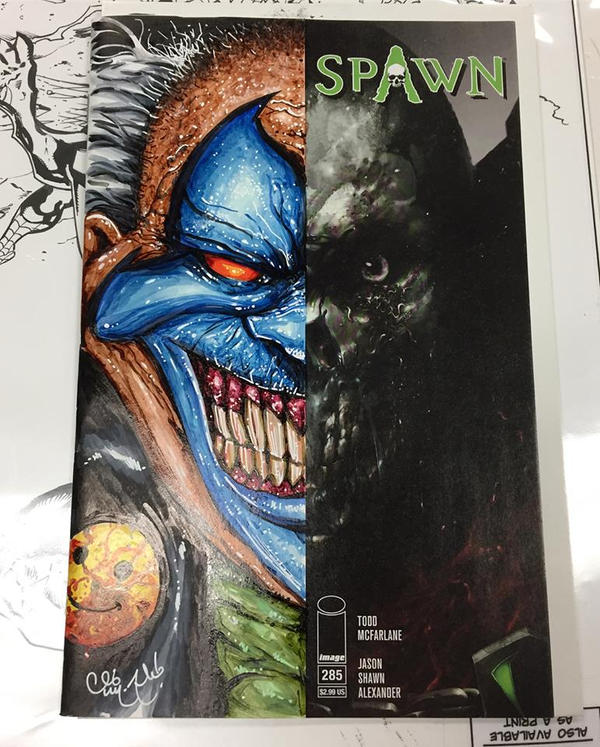 Spawn 285 Half Sketch Cover with Violator Clown by ChrisMcJunkin