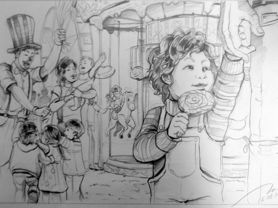 Fun Fair Scene Drawing by TCHS530