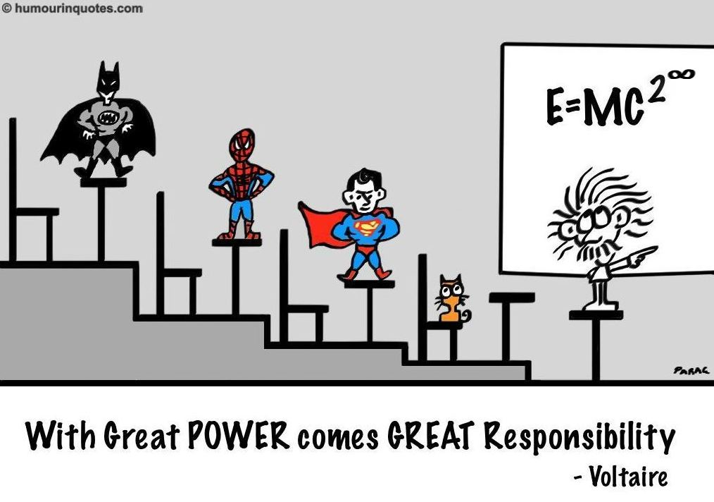 """a great power comes great responsibility essay Free essay: plato once said, """"human behavior flows from three main sources:  desire,  with great power comes great responsibility 1984 by george orwell."""