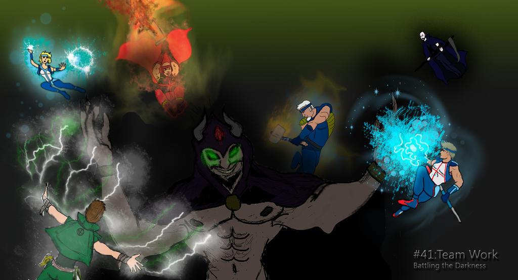 #41: Team Work: Battling the Darkness by saintfighteraqua