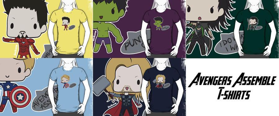 Avengers Tshirts Super Chibi by DamnedRomance