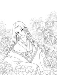 Kaguya Hime - Ajisai - lineart by aruarian-dancer