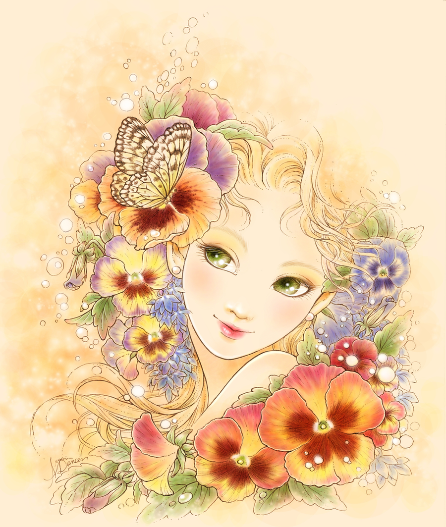 Девушка с цветами рисованная