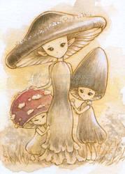 Mrs. Mushroom with Her Children by aruarian-dancer