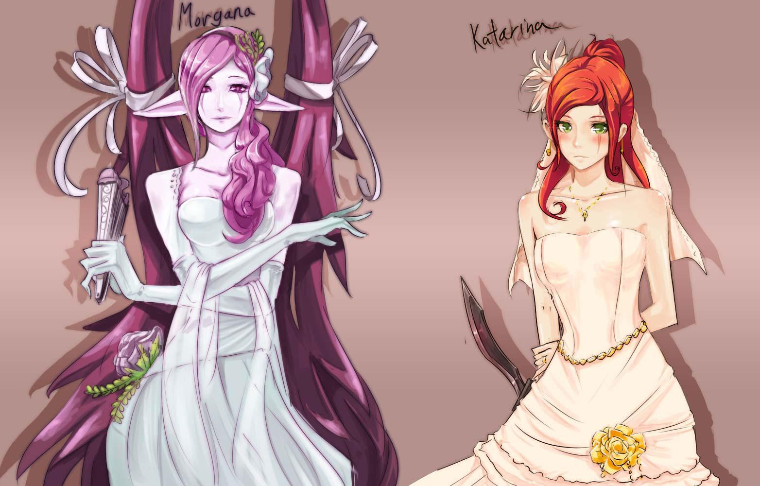 LOL - The Big Day_ Katarina and Morgana by beanbeancurd