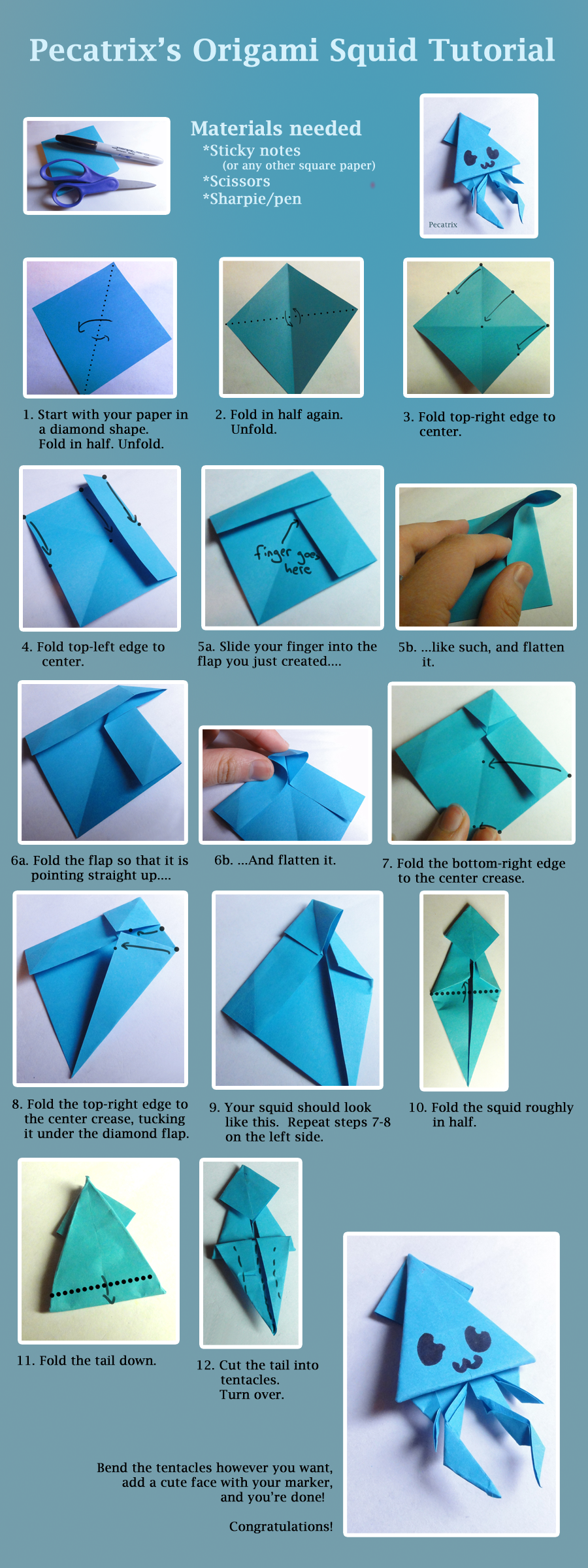 Origami squid tutorial by pecatrix on deviantart for How to make a star with paper step by step