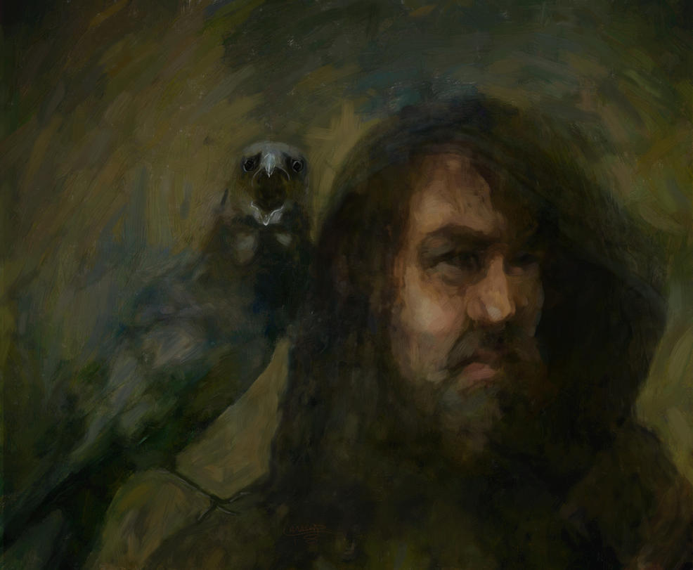Wotan the Wanderer and familiar by Les-Allsopp