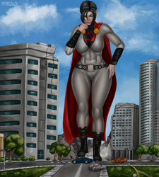 Commission - Skyscraper Soviet Superwoman by admdraws