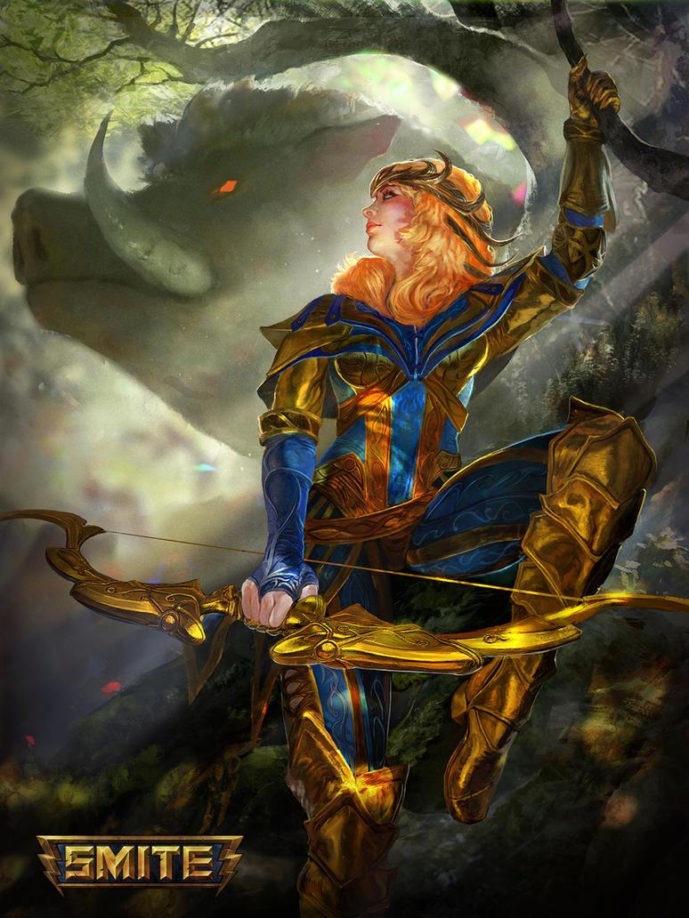 Smite - Artemis - Gold Mastery Skin. by jaggudada