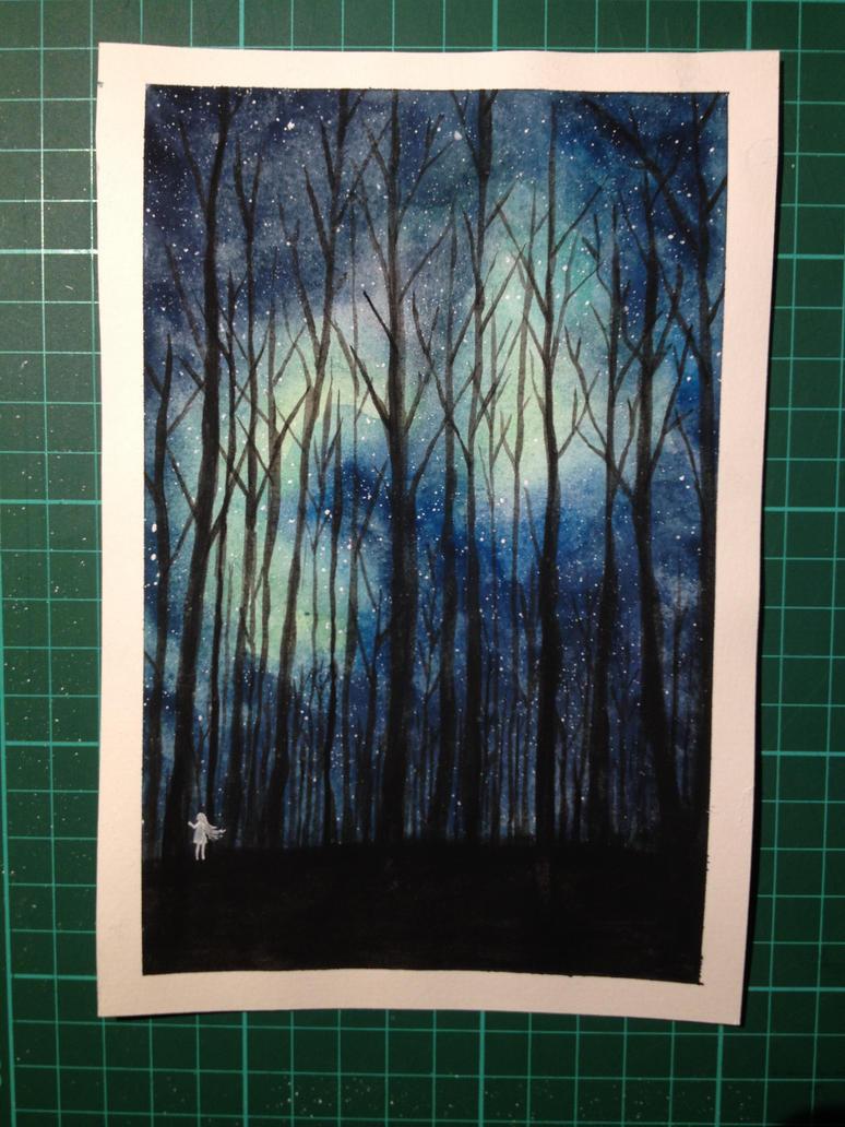 Night in a forest by MirkyMirky