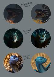 Dragon Studies by selftaughtartist1