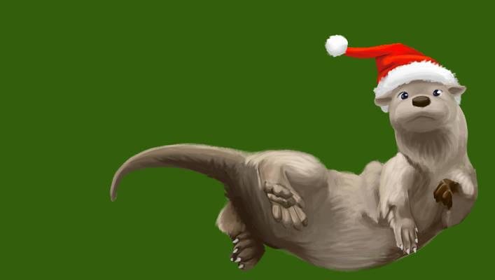 Otter in a Santa Hat