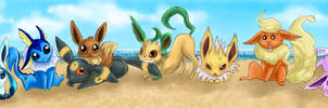 Eevees on the beach