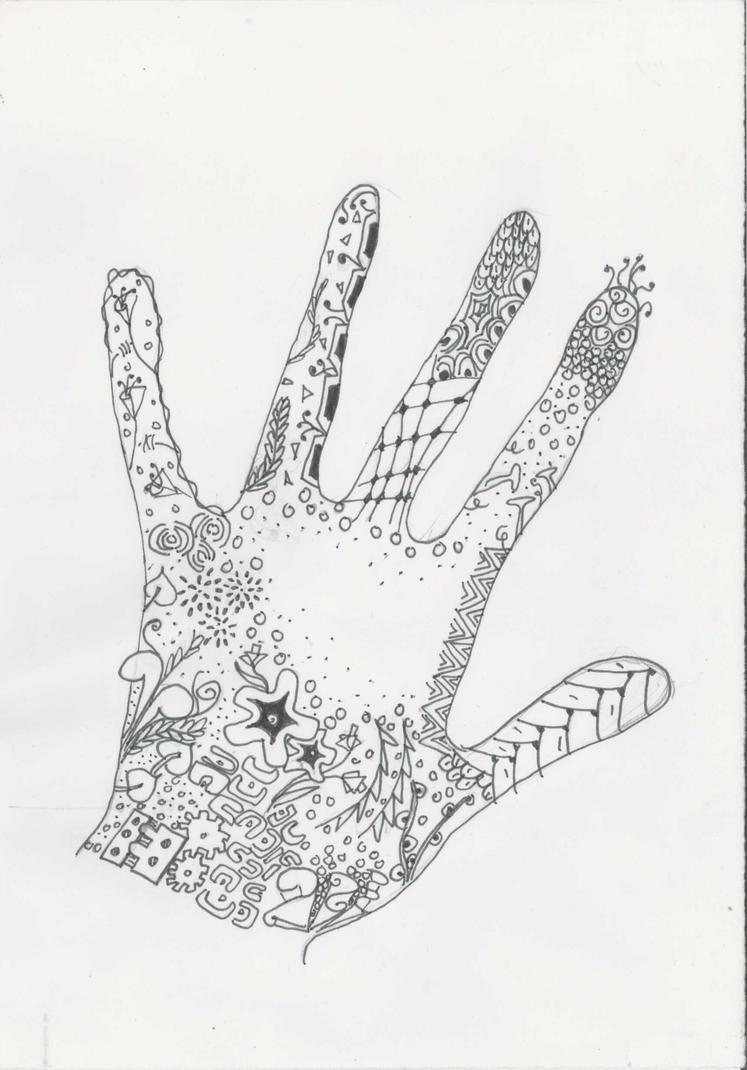 Zentangle hand by ZenStarFox