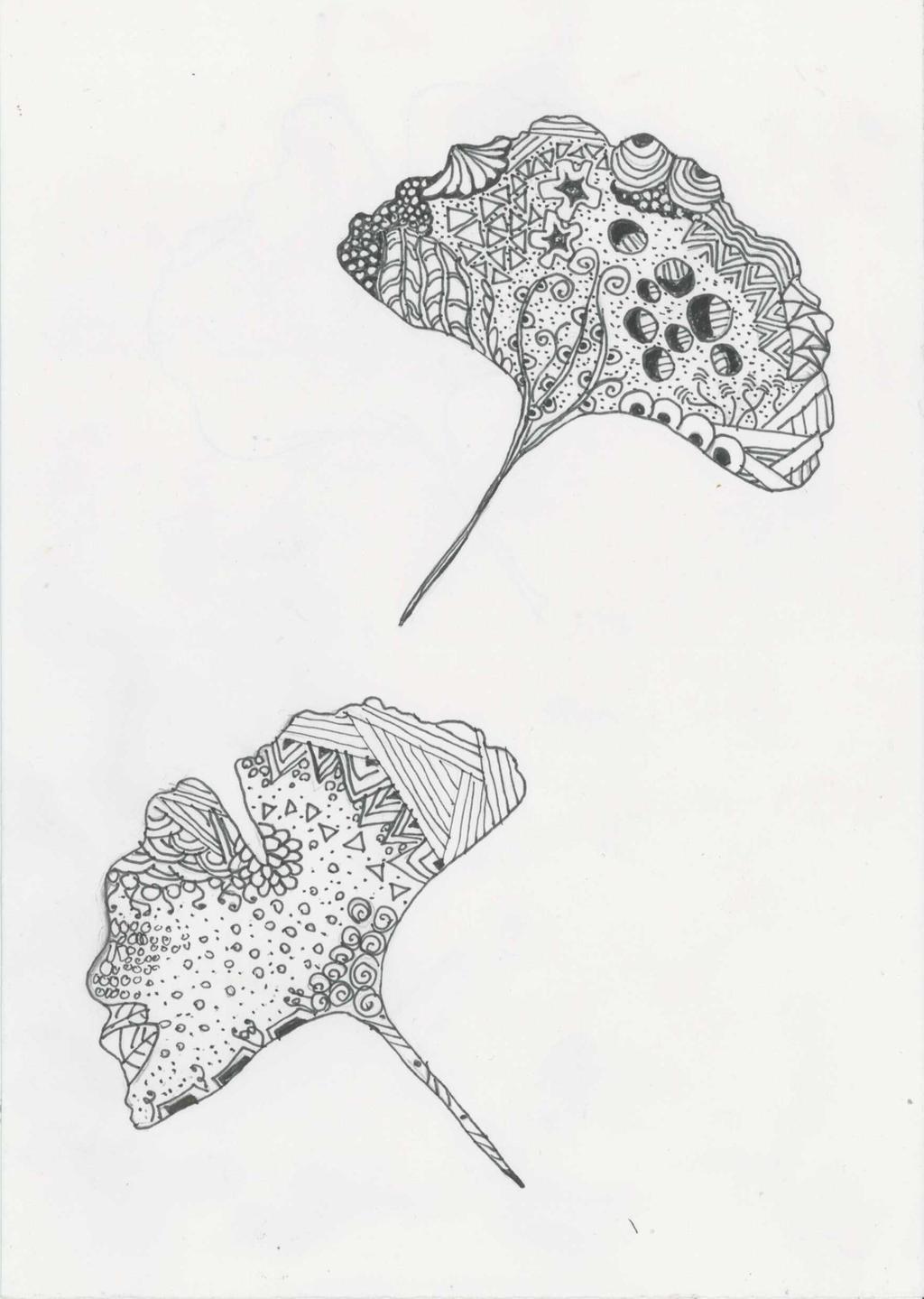 Zentangle Ginkgo biloba by ZenStarFox