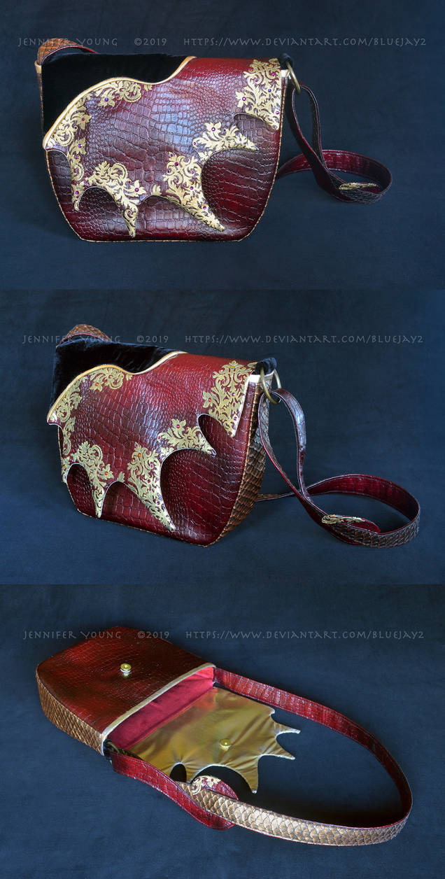 Gilded Dragon Hide Purse (multiple views)
