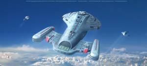 Star Trek Intrepid Class Starship  Above The Cloud