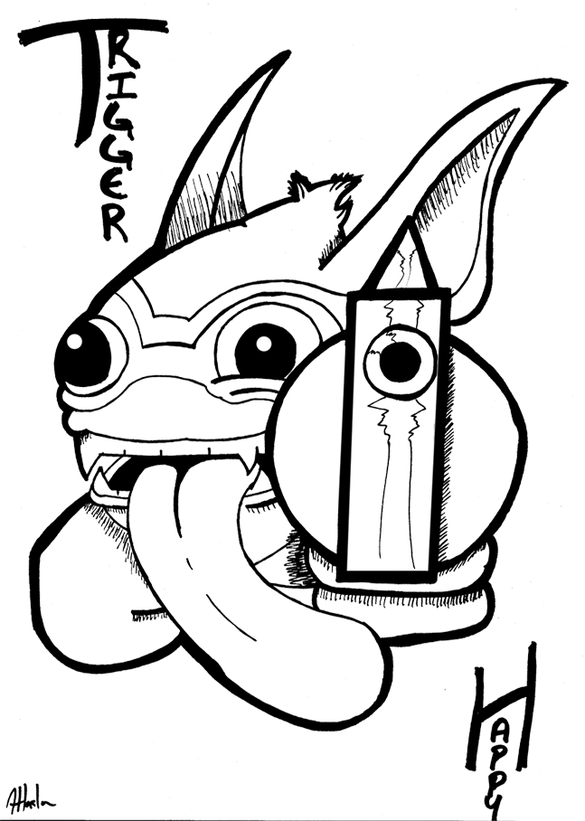Skylanders giants coloring pages drobot wow pow ~ Skylanders: Trigger Happy by TGZetta on DeviantArt