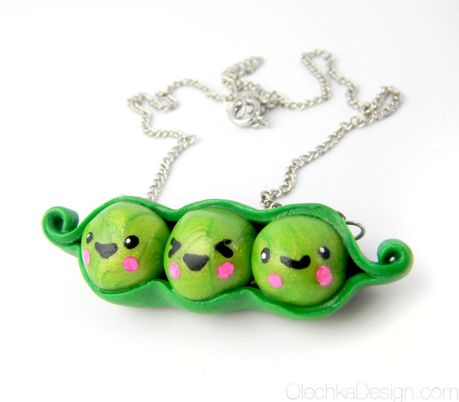 Kawaii Peas in a Pod Necklace by Olechka01