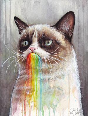 Grumpy Cat Tastes the Rainbow by Olechka01