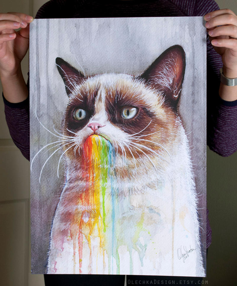 Grumpy Cat Art Print by Olechka01