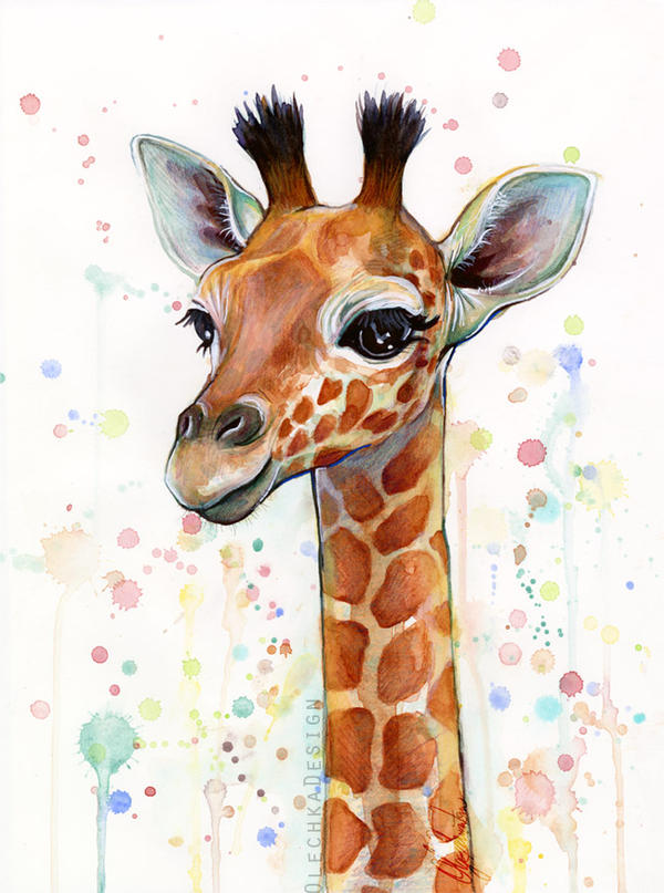Baby giraffe watercolor painting cute animals by for Easy animal paintings