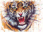 Ferocious Tiger Watercolor Painting
