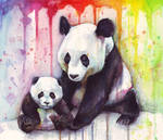 Baby and Mama Panda Watercolor