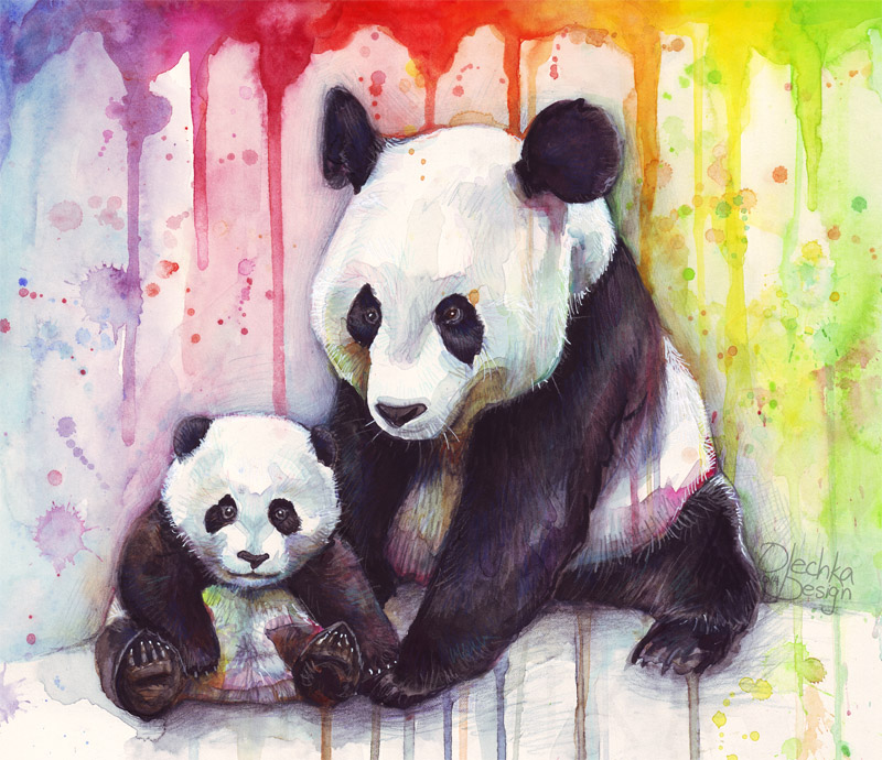 Baby And Mama Panda Watercolor By Olechka01 On Deviantart