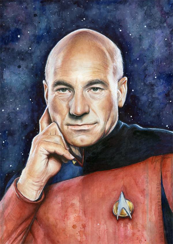 Captain Picard Portrait - Star Trek Art by Olechka01