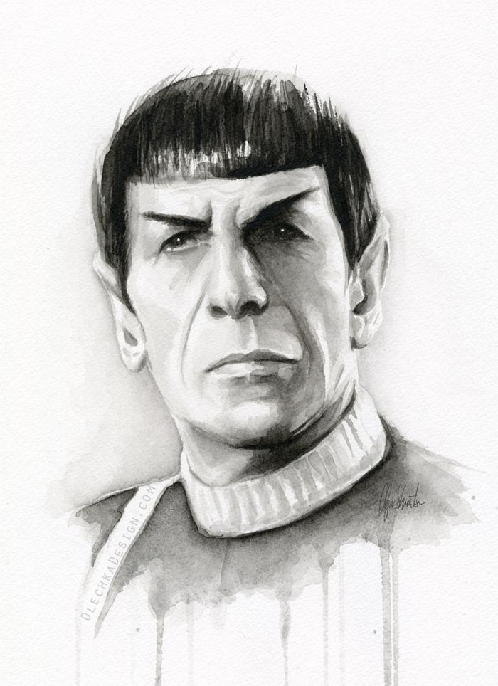 Spock Portrait Star Trek Fan Art by Olechka01