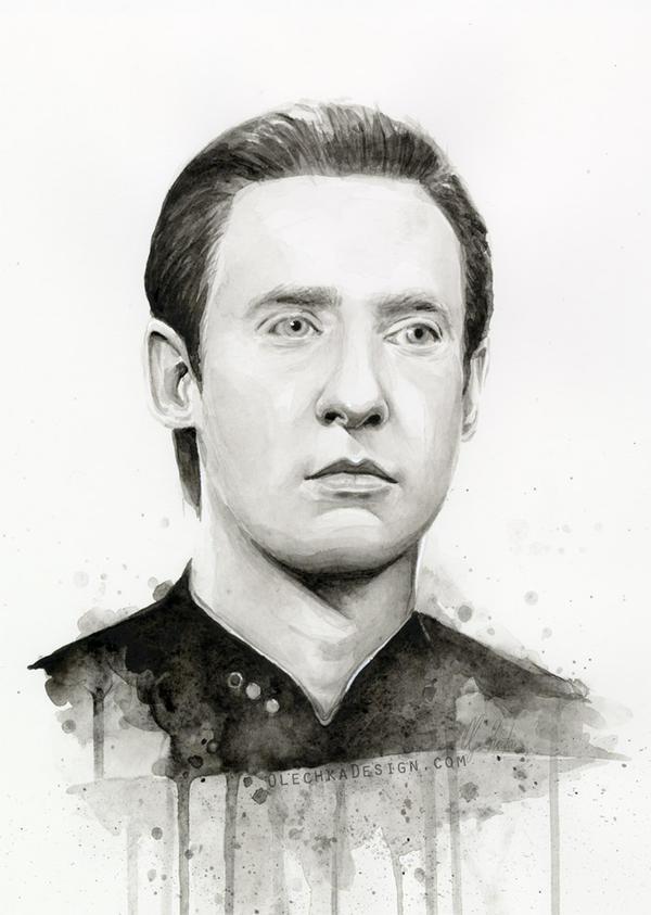 Data Star Trek Portrait Fan Art by Olechka01