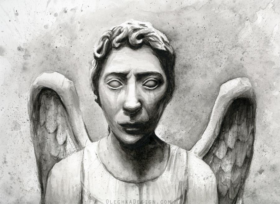 Weeping Angel Watercolor - Doctor Who Fan Art by Olechka01