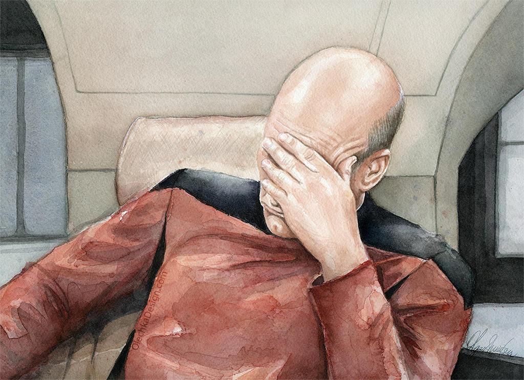 Picard Facepalm Meme, Watercolor by Olechka01