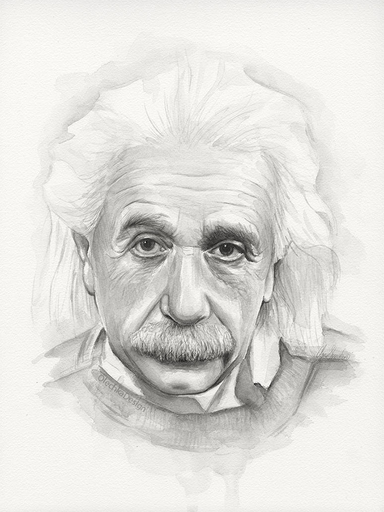 Albert Einstein Watercolor Portrait by Olechka01